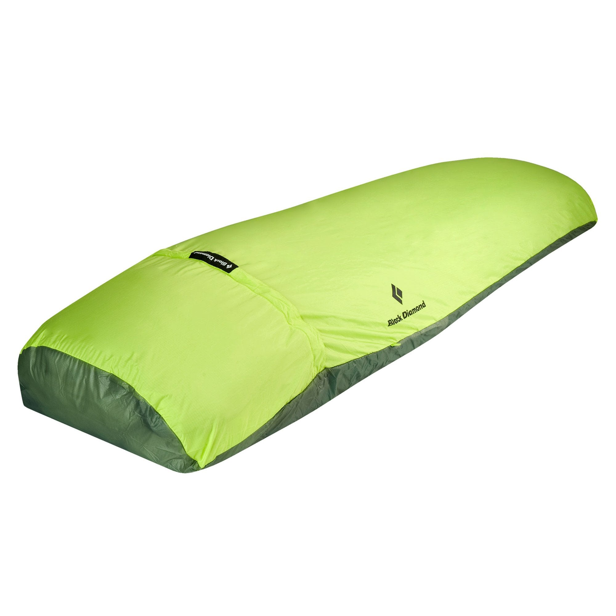 Black Diamond Twilight Bivy, front/side view shown laid out, in green colour