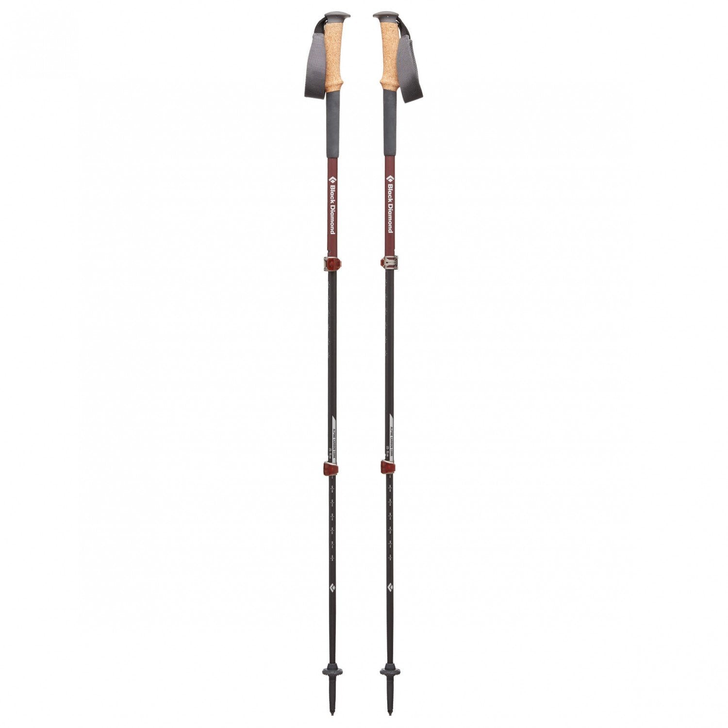 Black Diamond Alpine Carbon Cork Womens walking poles, shown in a pair fully extended