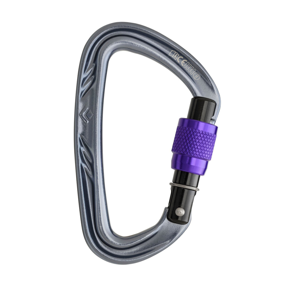 Black Diamond Nitron Screwgate climbing carabiner, in silver and purple colours