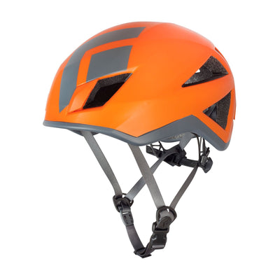 Black Diamond Vector climbing helmet, front/side view in orange and grey colours