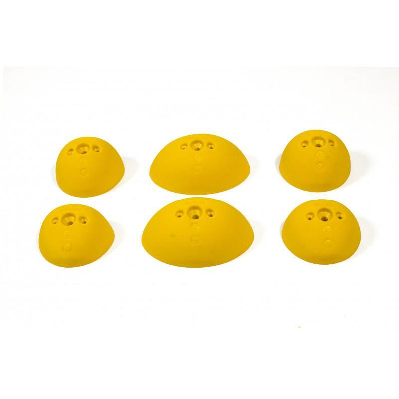 Bleaustone Training Range Dual Sloper climbing holds, showing 6 pieces in yellow colour