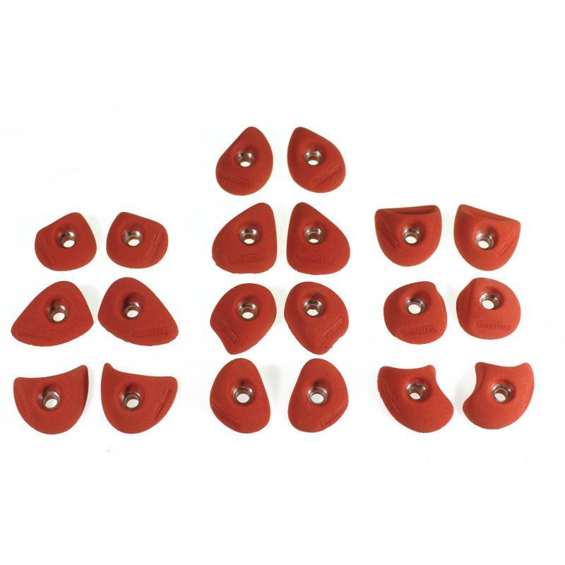 Bleaustone Training Range Symmetric climbing holds, showing 20 pieces in red colour