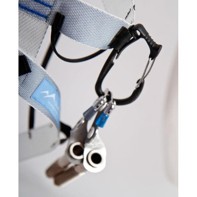 Blue Ice Choucas III harness, showing the gear loop detail with winter gear attached