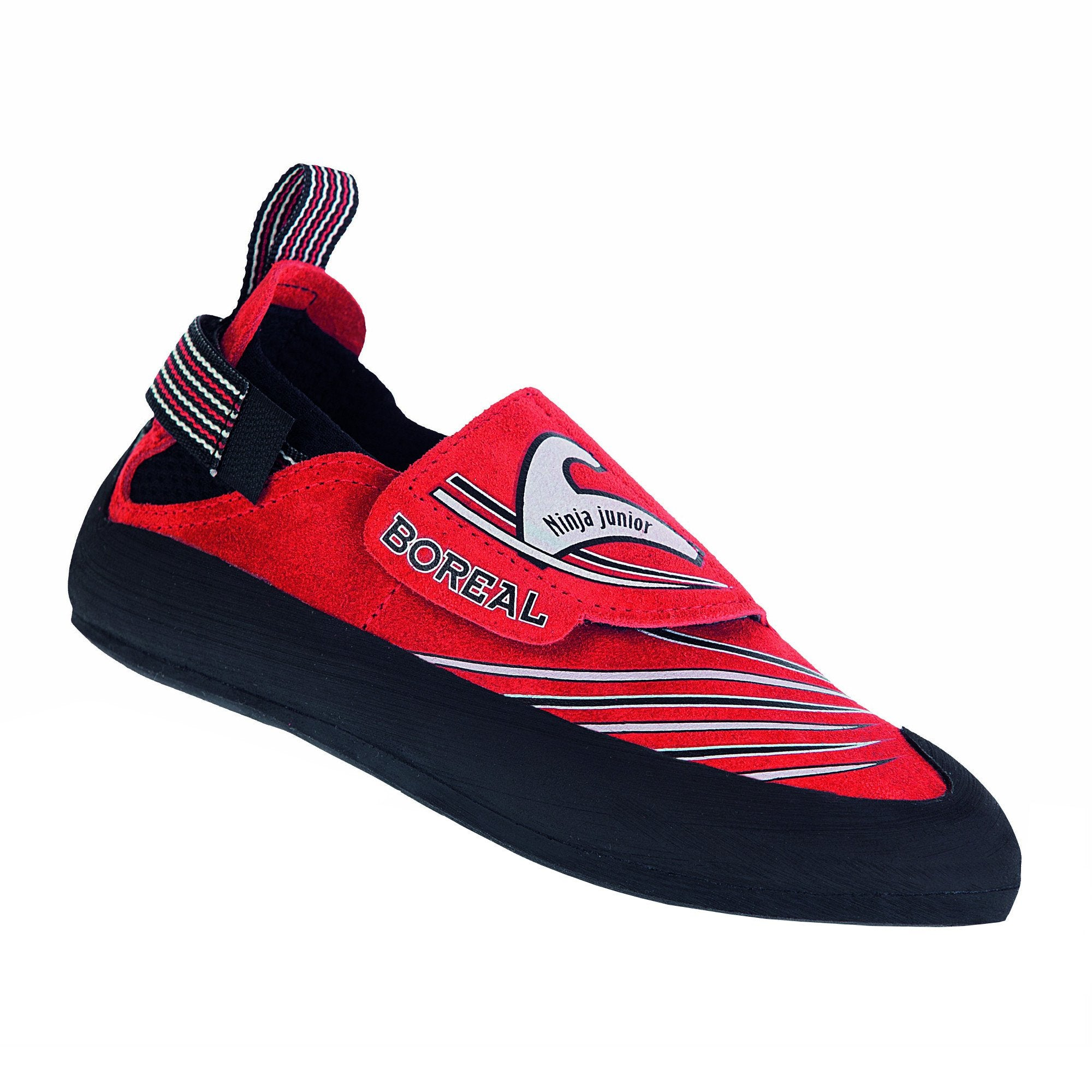 Boreal Ninja Junior kids climbing shoe, outer side view in red colour