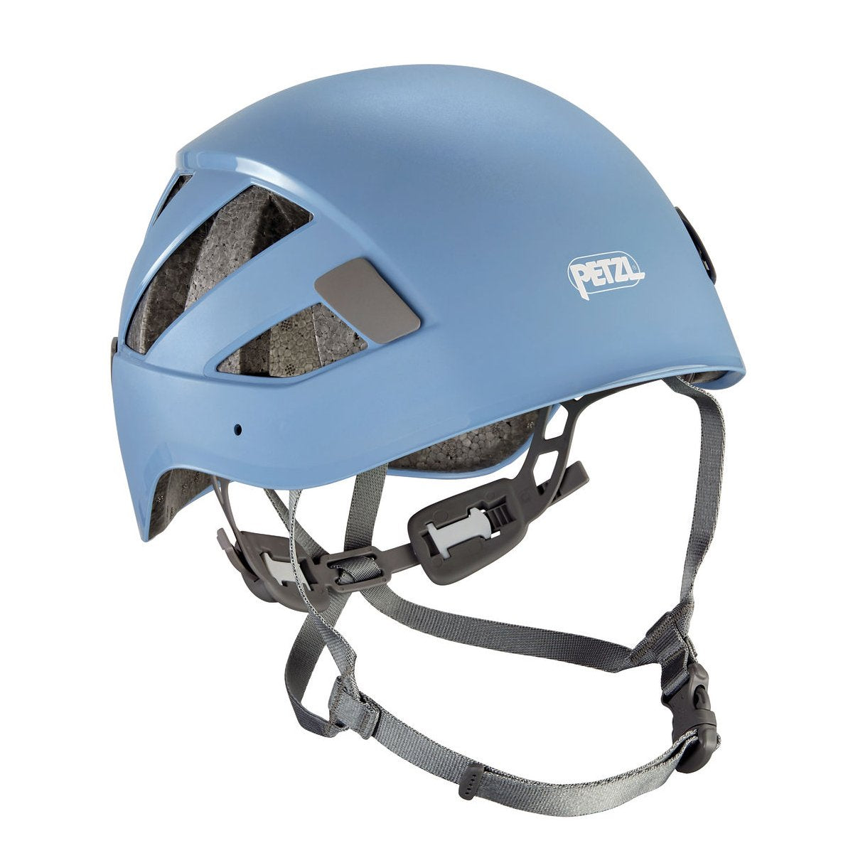 Petzl Boreo climbing helmet, front/side view in blue colour with grey chin straps