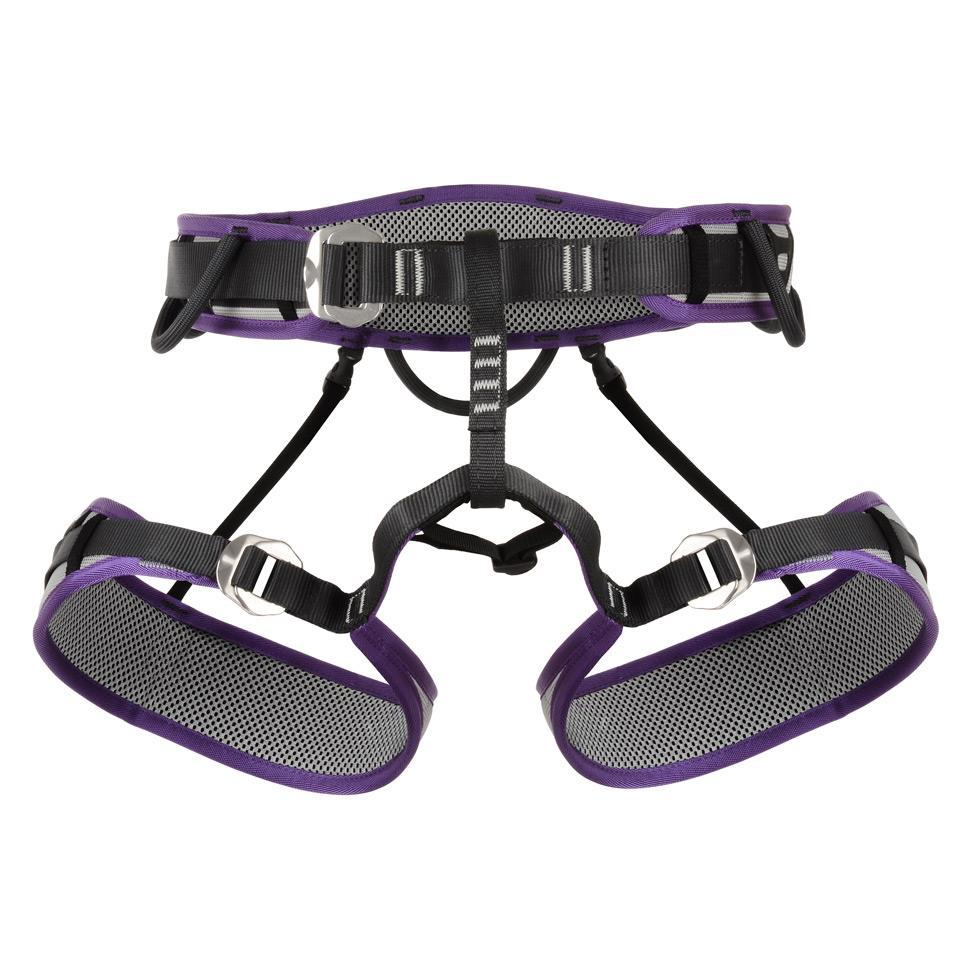 DMM Puma 2 Womens Harness, front view in purple, black and grey colours