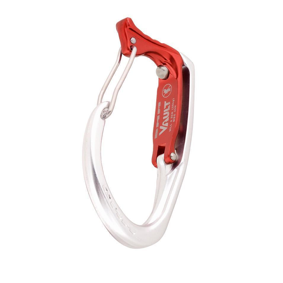 Front view of the DMM Vault Wire Gate carabiner in Red and Silver
