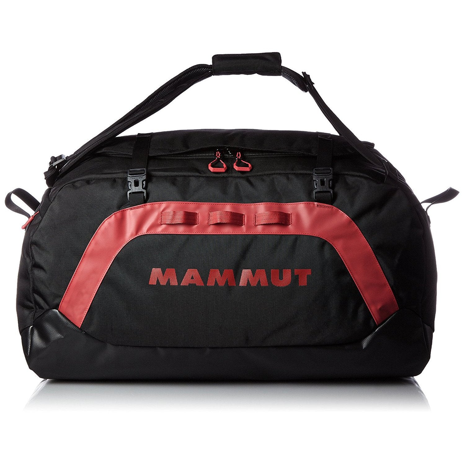 Mammut Cargon Holdall 90L, shown in holdall carry mode, in black/red colours