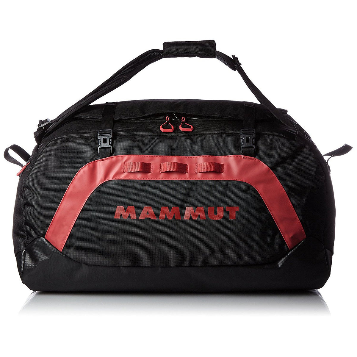 Mammut Cargon Holdall 60L, shown in holdall carry mode, in black/red colours