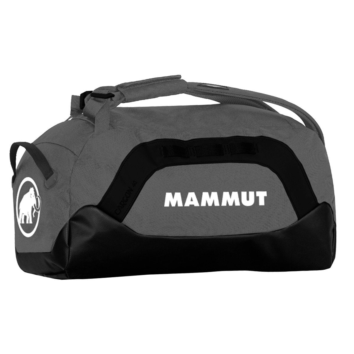 Mammut Cargon Holdall 40L, shown in holdall carry mode, in grey/black colours