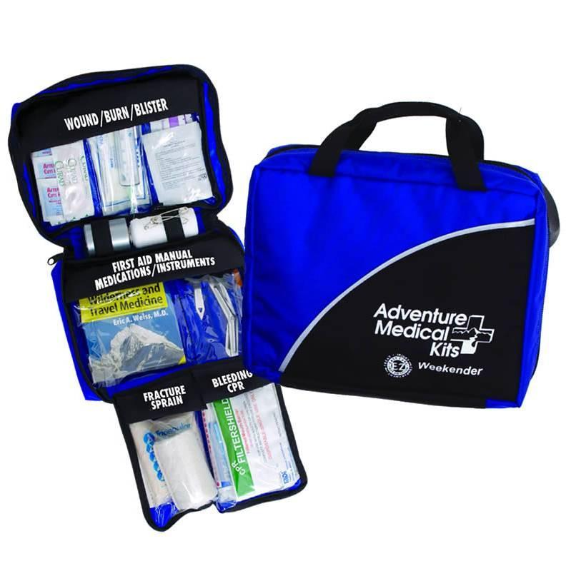 Adventure Medical Kits Mountain Weekender, outdoor first aid kit shown closed and open