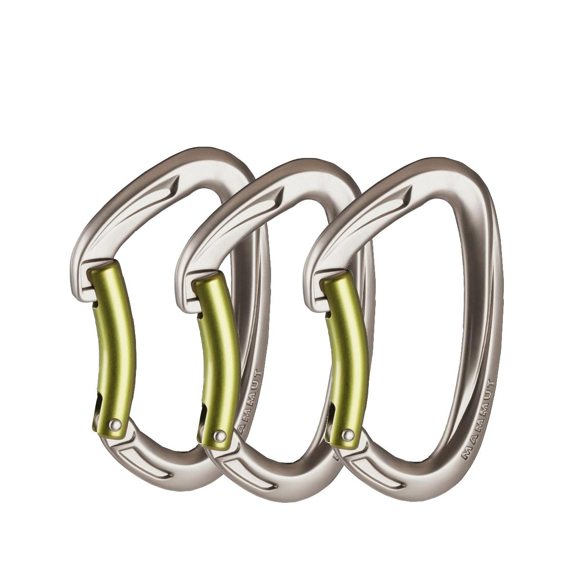 3 Mammut Crag Keylock Bent gate carabiners, shown side by side in silver colour with green gates