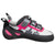 EB Django VCR Womens climbing shoe, outer side view in black, grey and pink colours