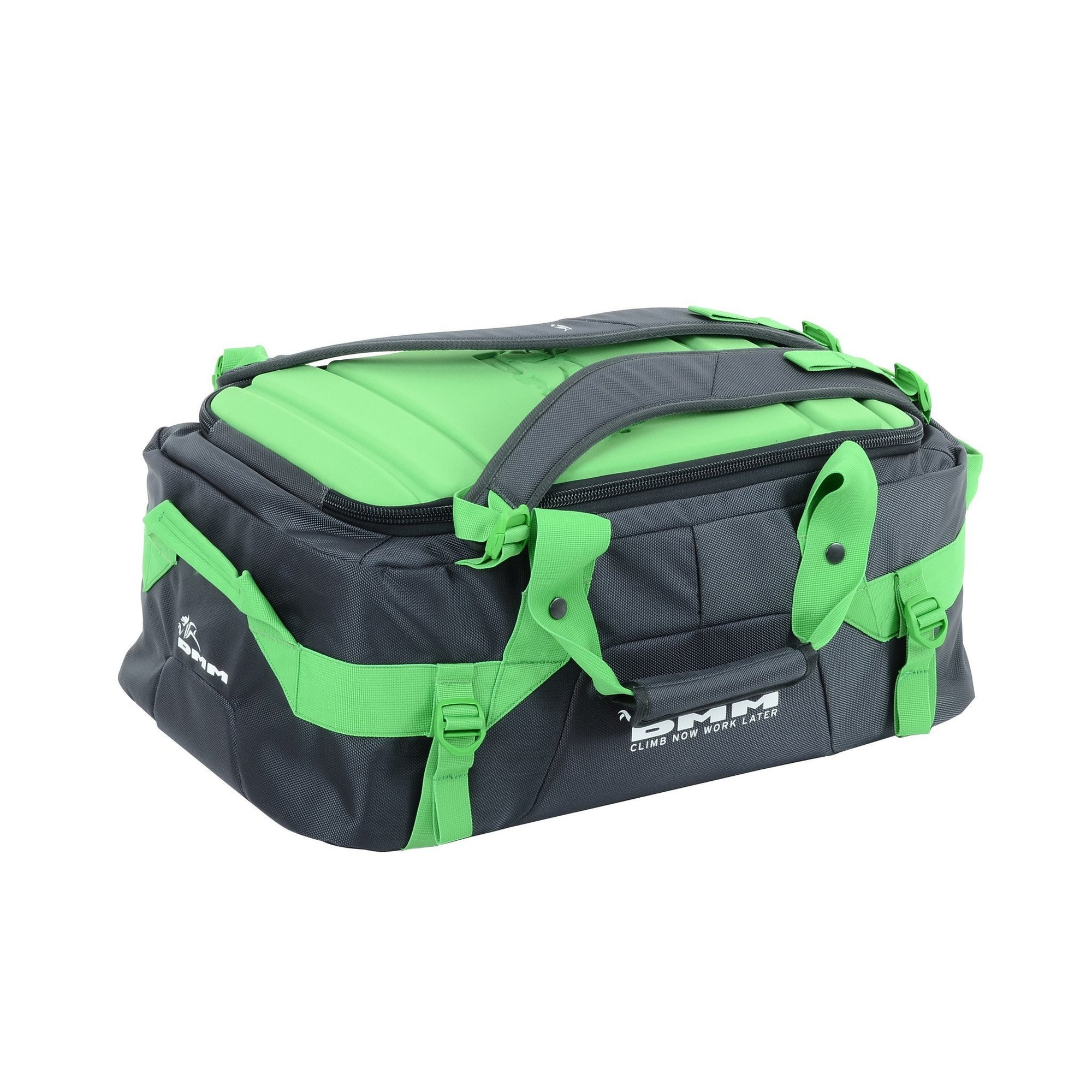 DMM Void climbing Duffel bag 45L, shown flat in carry mode
