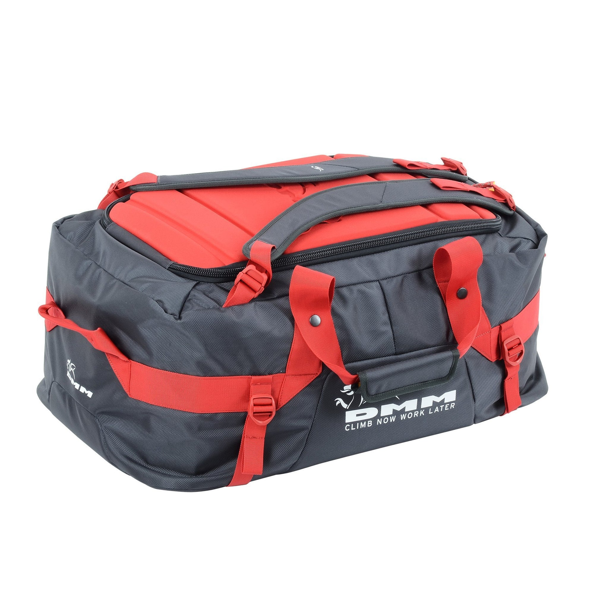 DMM Void climbing Duffel bag 75L, in red and black colours shown in carry mode