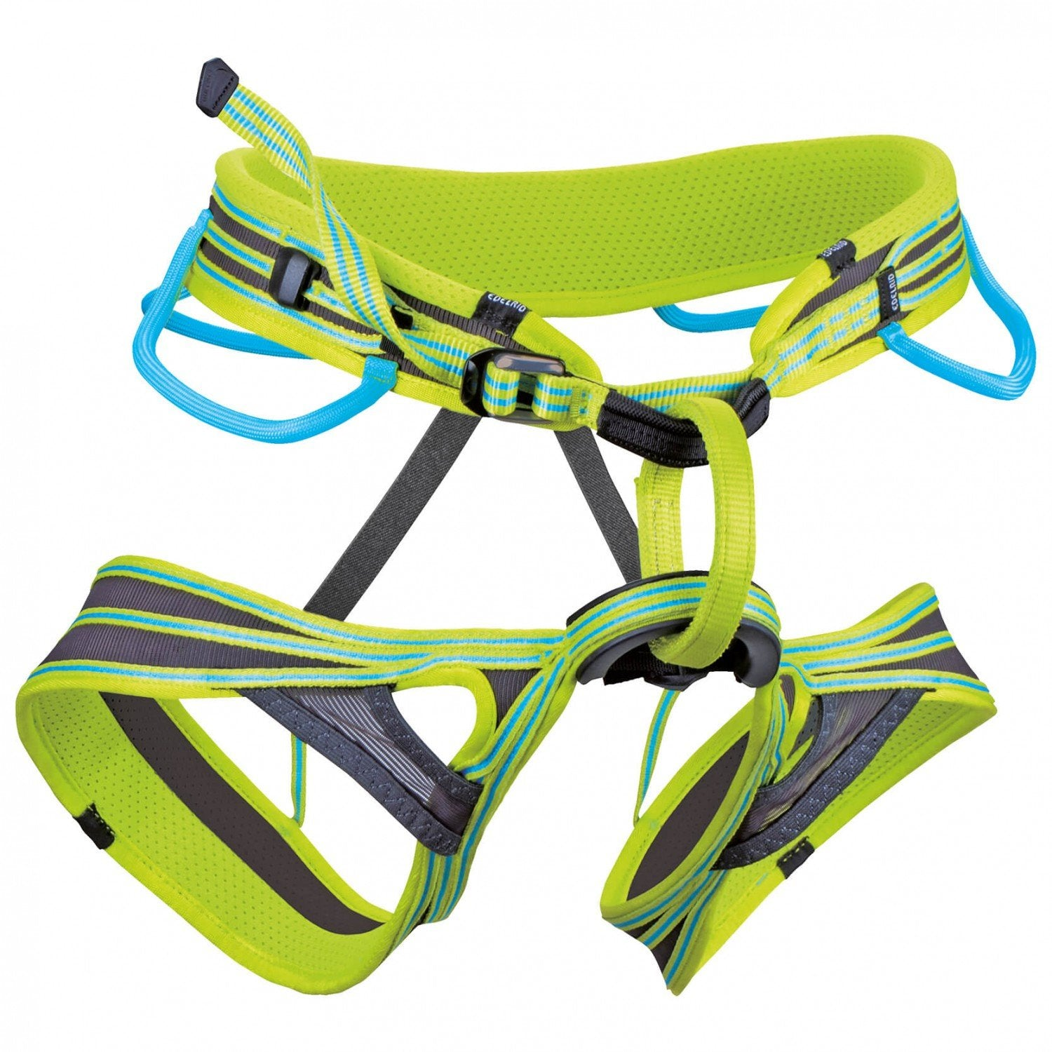 Edelrid Atmosphere Harness, front/side view in green, grey and blue colours
