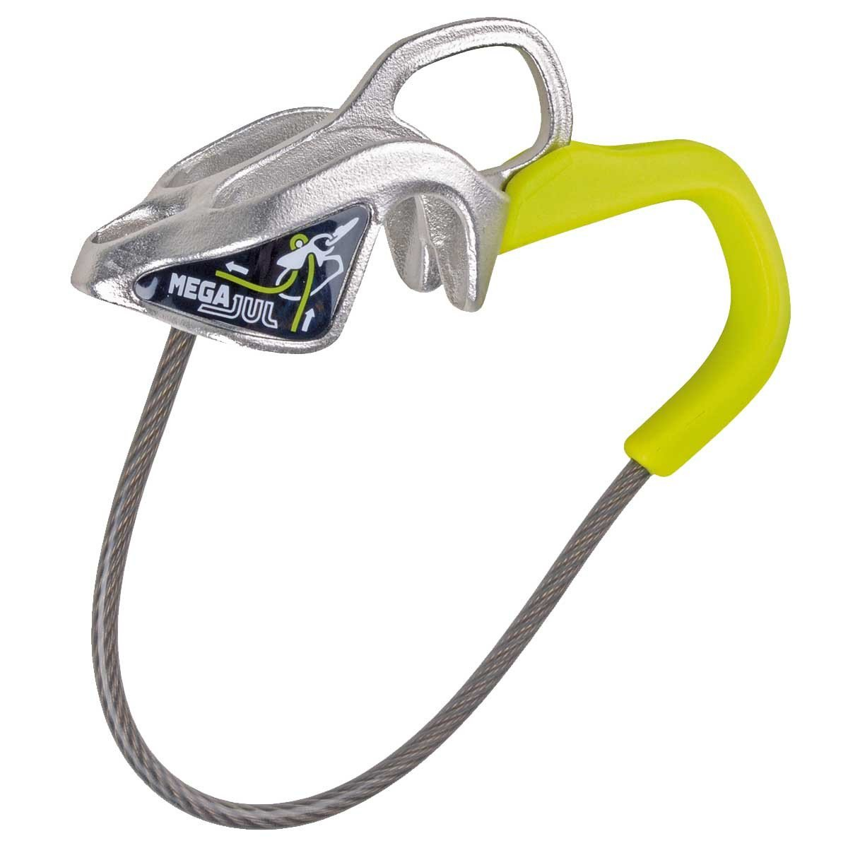 Edelrid Mega Jul belay device, in green and silver colours