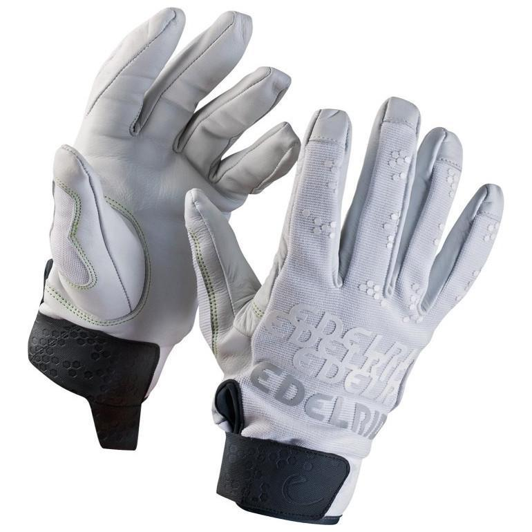 Edelrid Skinny Belay Gloves, shown worn on hands, in white and black colour