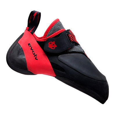 Evolv Agro climbing shoe, in black and red colours