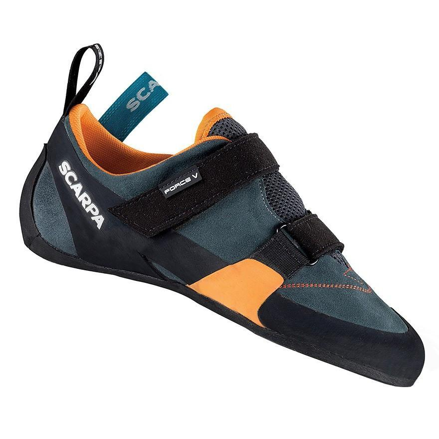 Scarpa Force V climbing shoe, in black, grey and orange colours