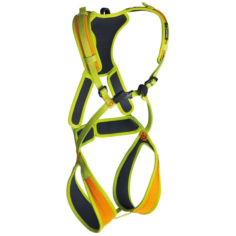 Edelrid Fraggle II kids full body harness, in black, green and orange colours