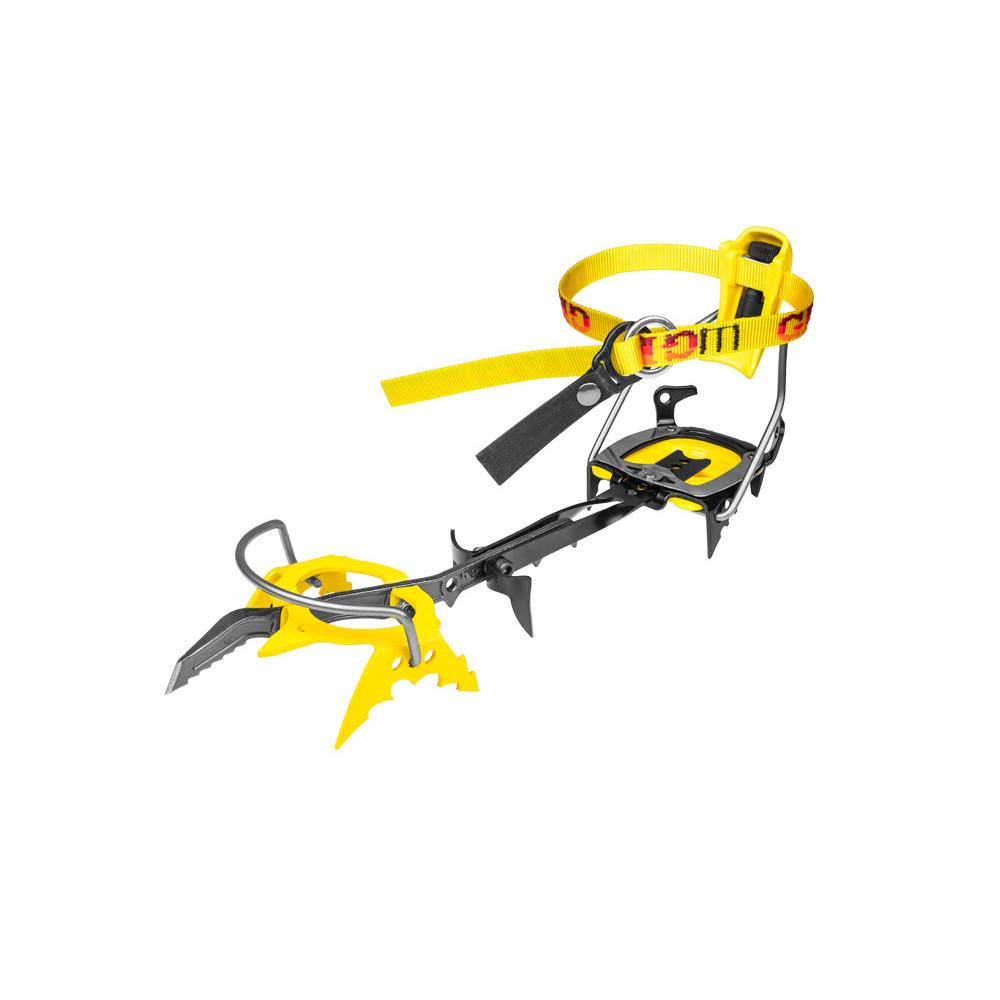 Grivel G20 Plus Crampon, front/ outer side view in yellow and black colours