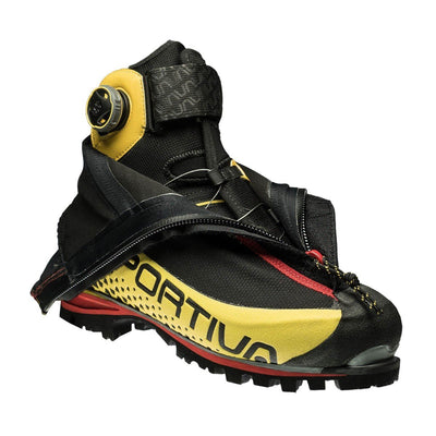 La Sportiva G5 Mountaineering Boot, showing outer layer peeled back to reveal inside of the boot