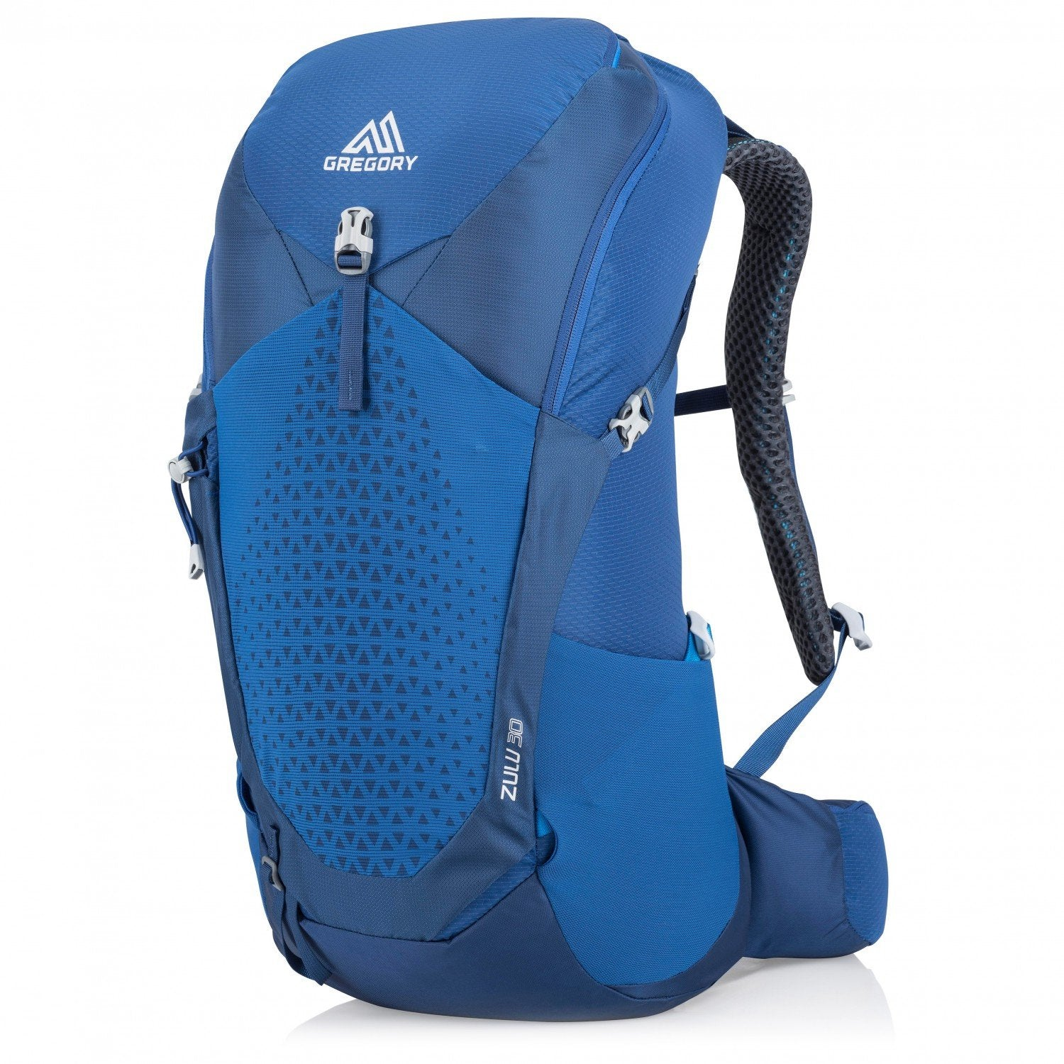 Gregory Zulu 30 rucksack, front/side view in Blue colour