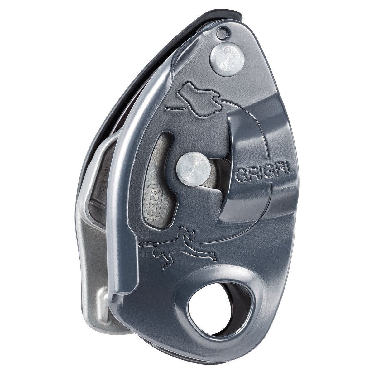 Petzl Grigri belay device, showing side view in silver colour