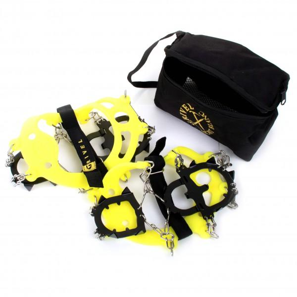 Grivel Ran Anti Slip, showing pair and carry bag. In yellow and black colours.