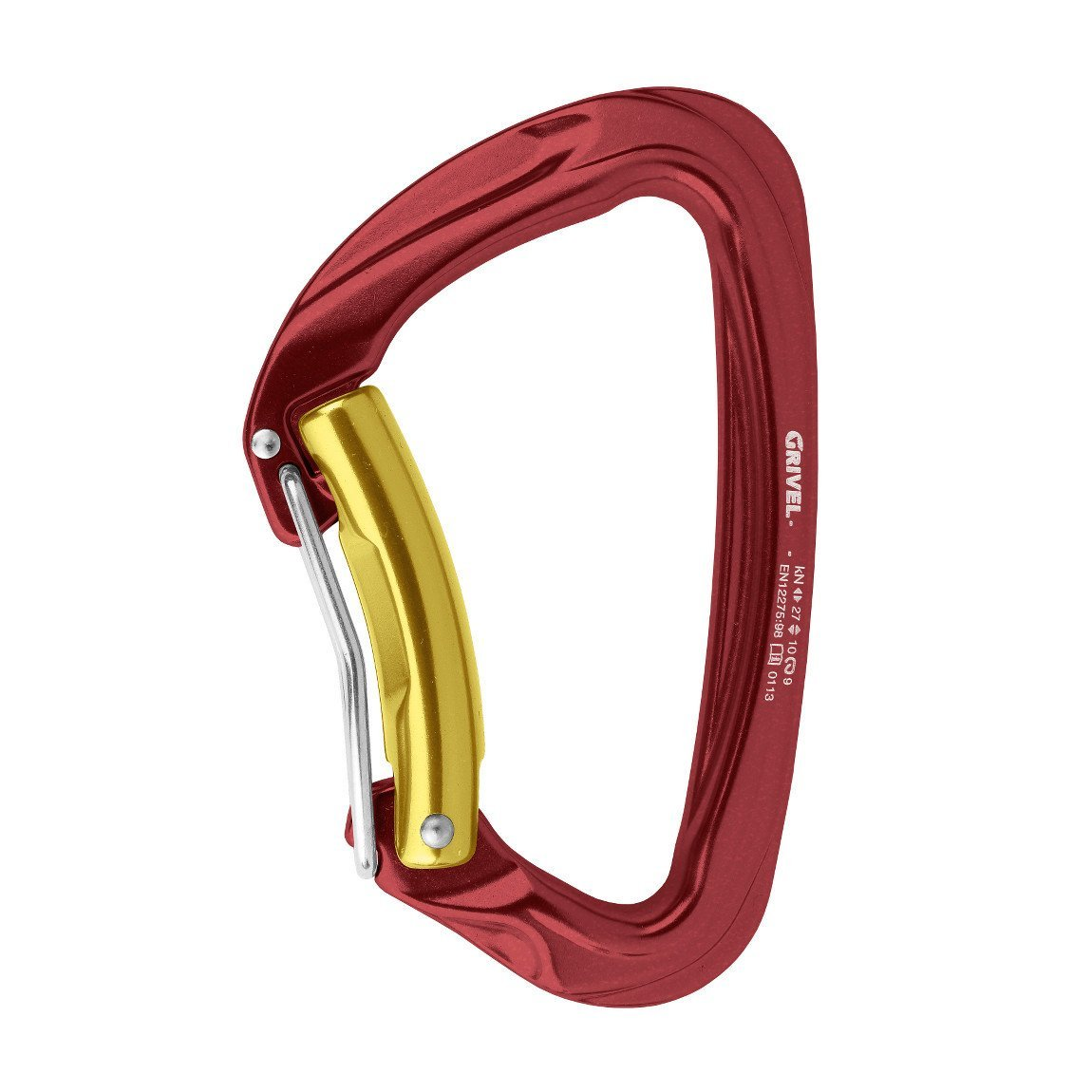 Grivel Sigma Twin Gate Carabiner, in maroon red and gold colours