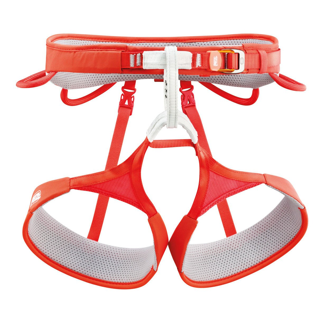 Petzl Hirundos Harness, front view, in Red, orange and white colours