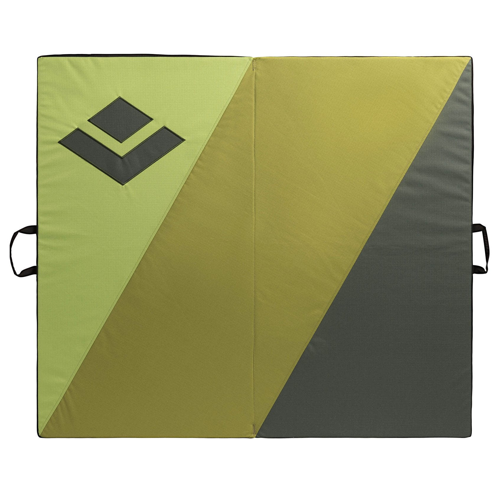 Black Diamond Impact bouldering pad, close up of logo and 3 stripe design detail