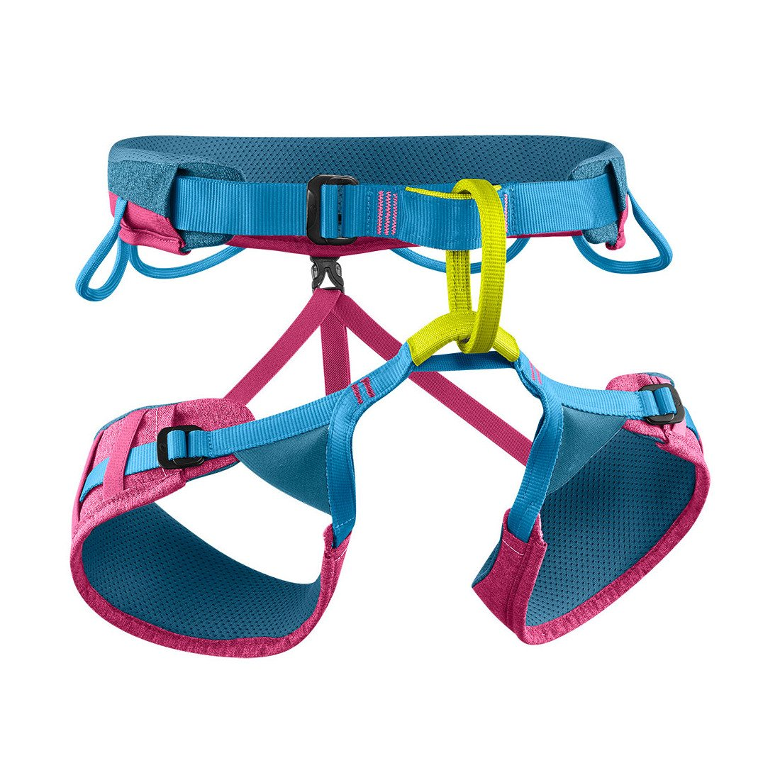 Edelrid Jayne III climbing Harness, front/side view in blue, pink and yellow colours