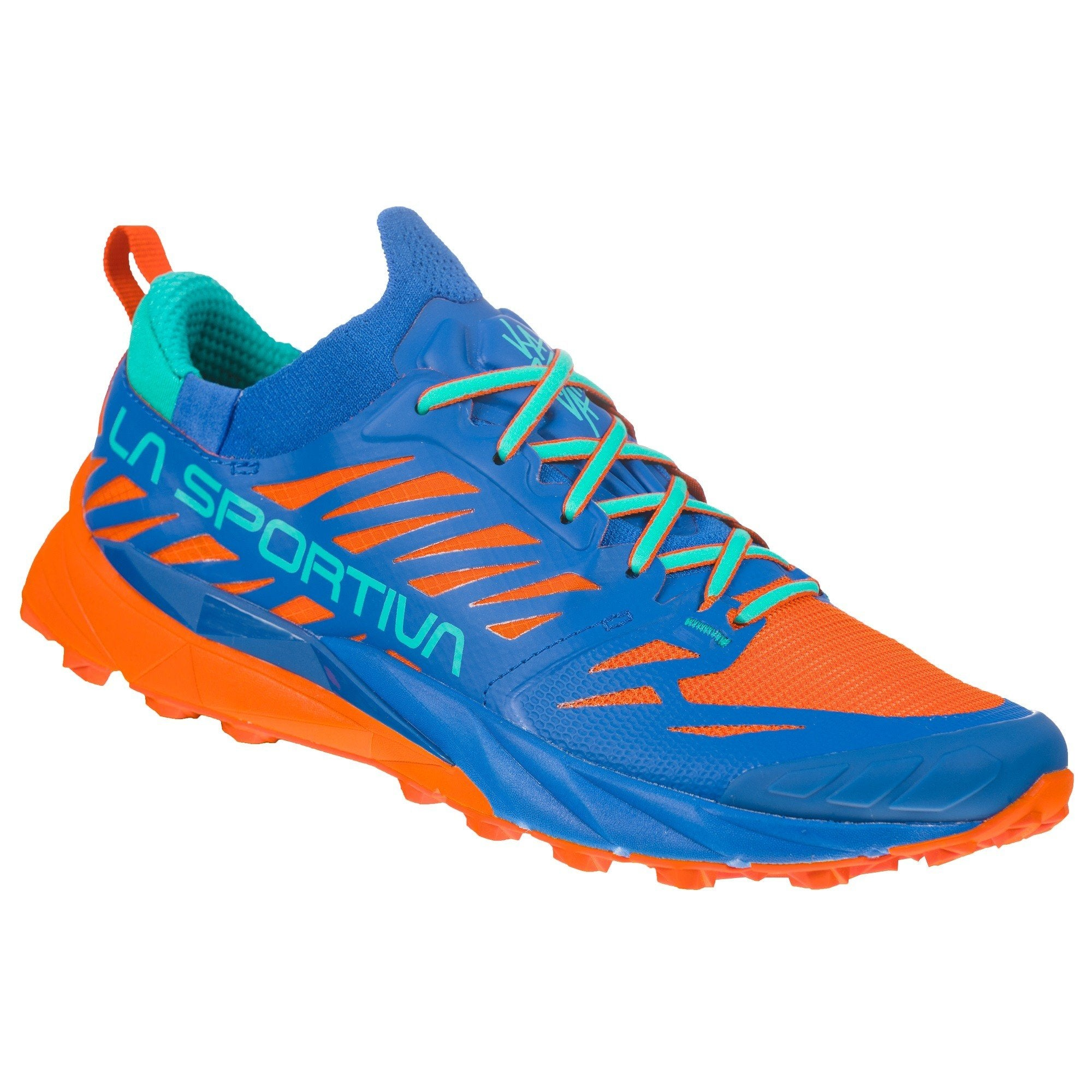 La Sportiva Kaptiva Womens trail running shoe, outer side view in blue and orange colours