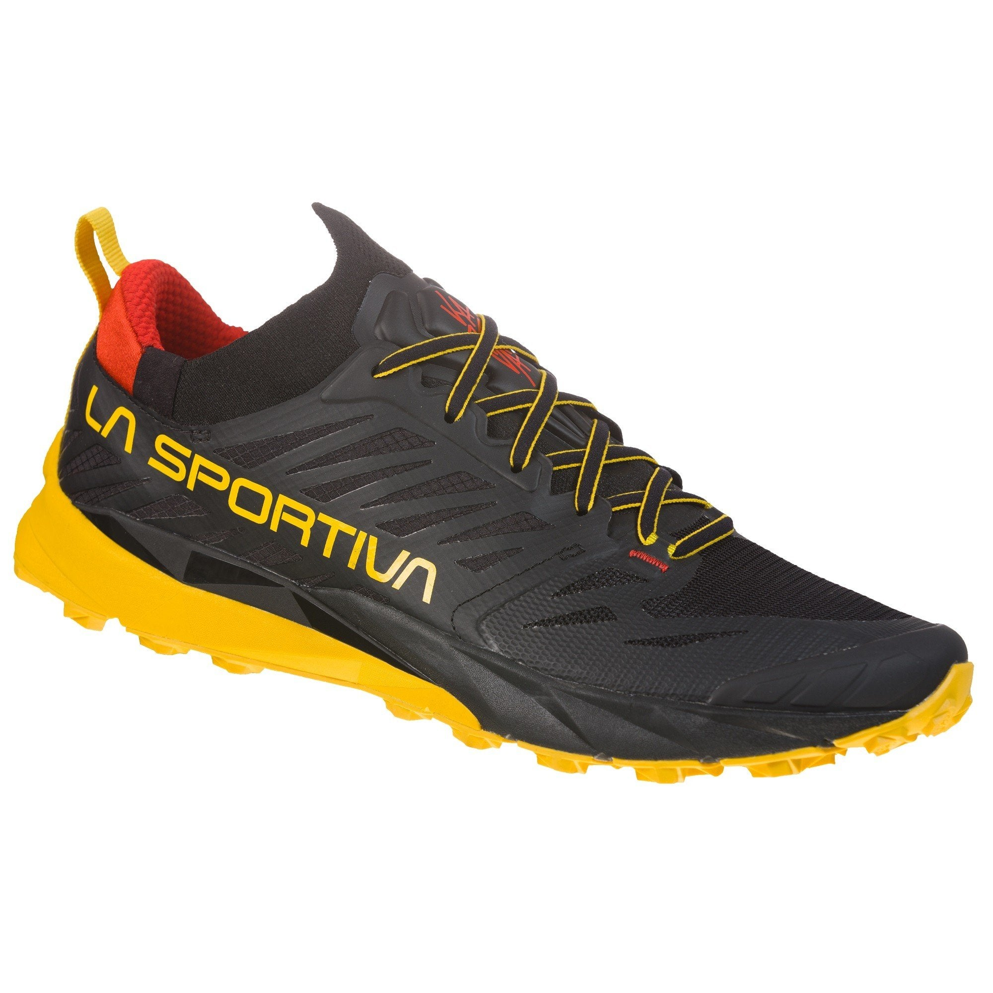 La Sportiva Kaptiva trail running shoe, outer side view in black/yellow/red colours