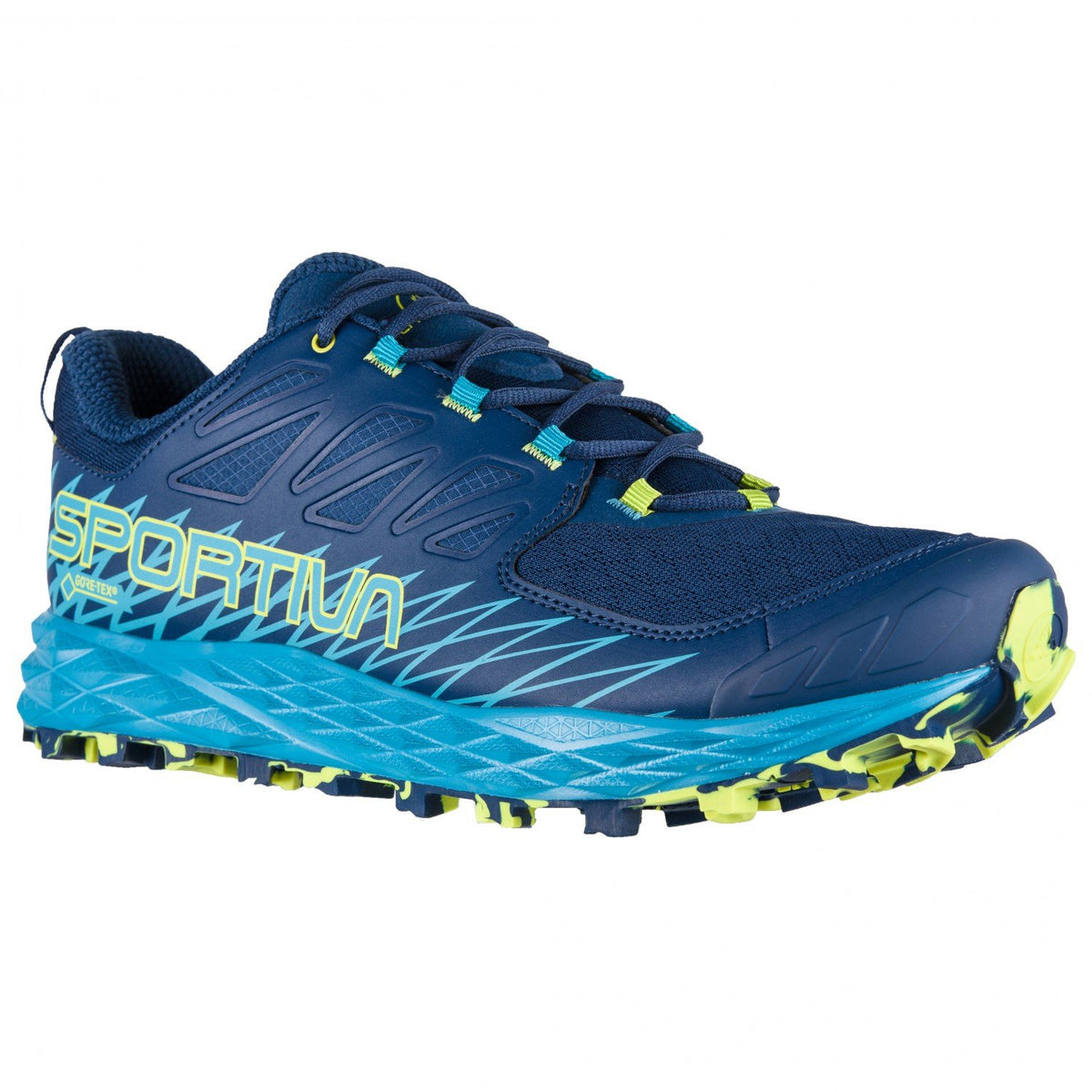 La Sportiva Lycan GTX trail running shoe, outer side view in Blue colours