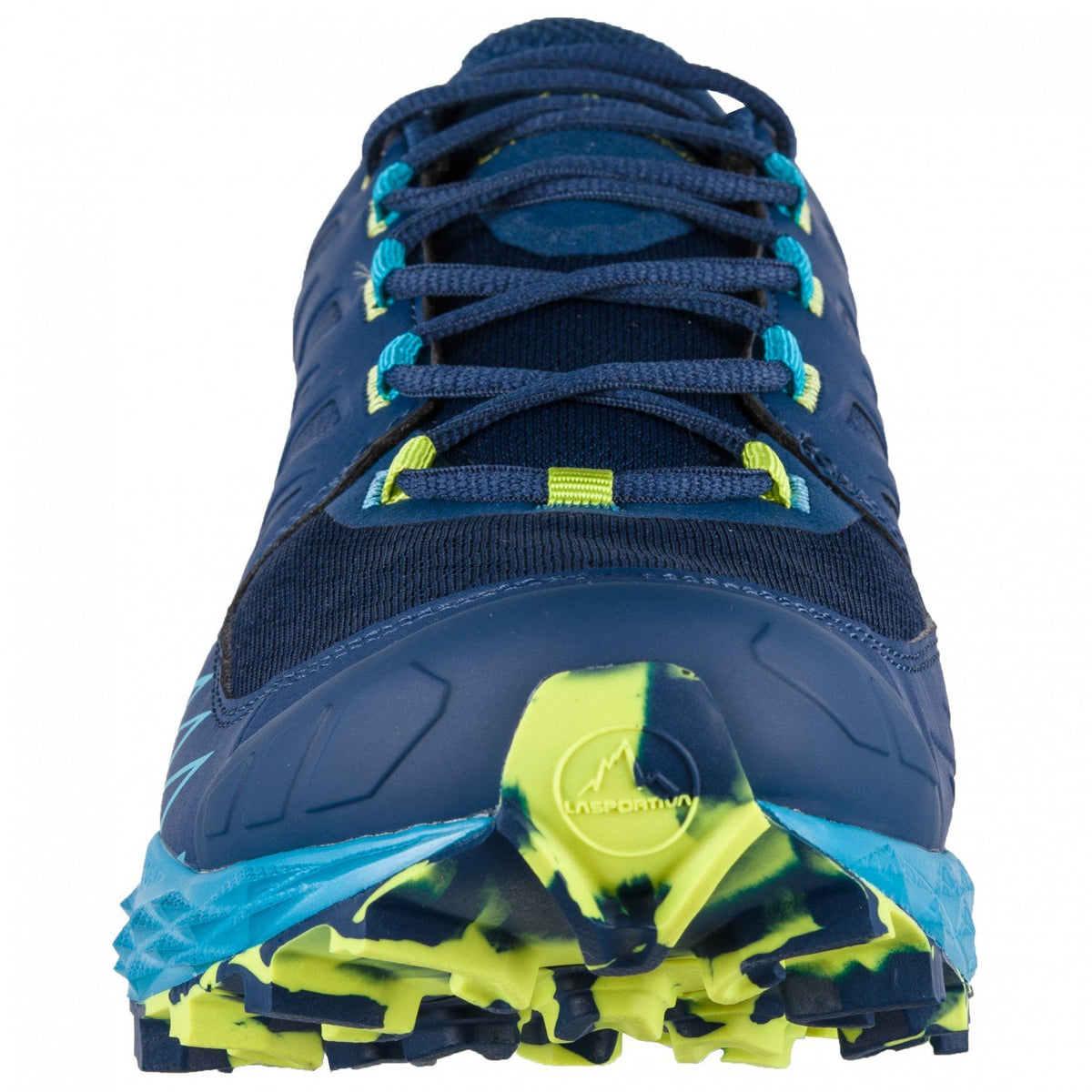 La Sportiva Lycan GTX running shoe, front view showing the laces design detail