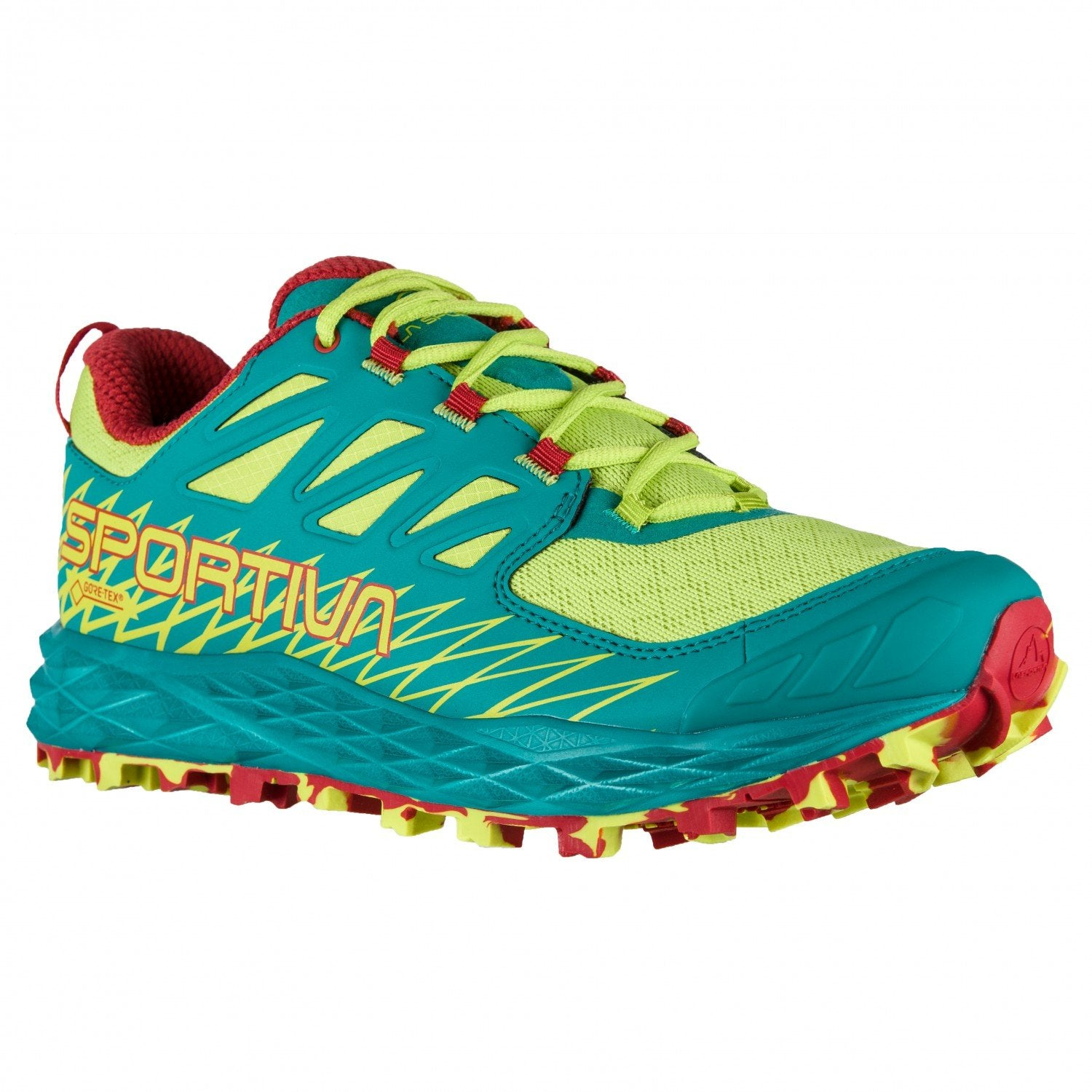 La Sportiva Lycan GTX Womens trail running shoe, outer side view, in green/blue/red colours
