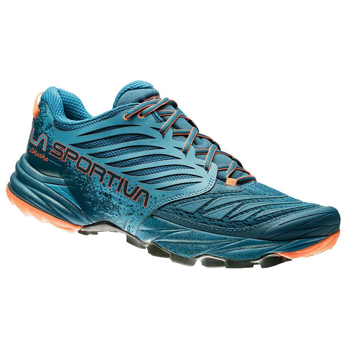 La Sportiva Akasha running shoe, outer side view in blue colours