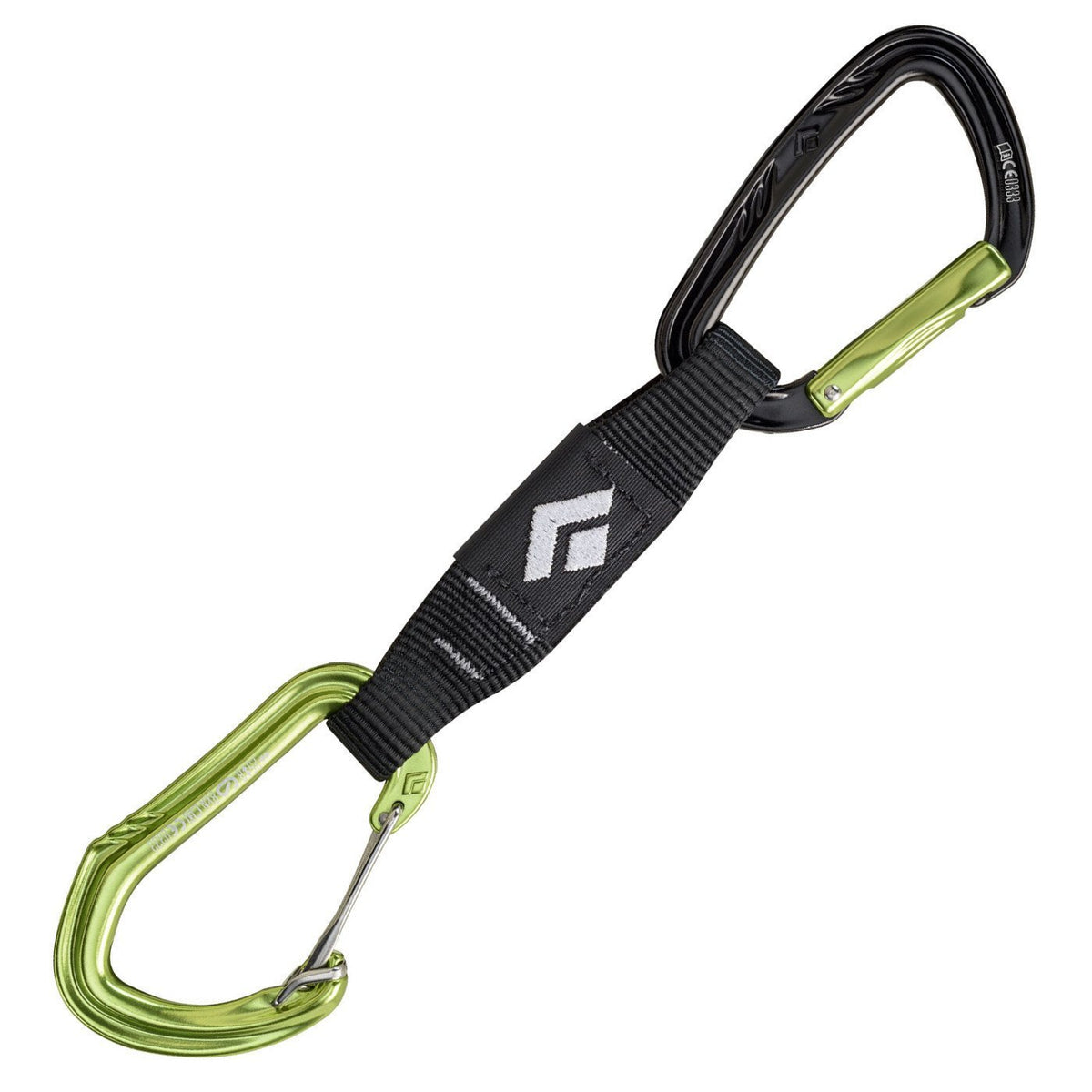 Black Diamond LiveWire Quickdraw, with black dog-bone and black/green coloured carabiners