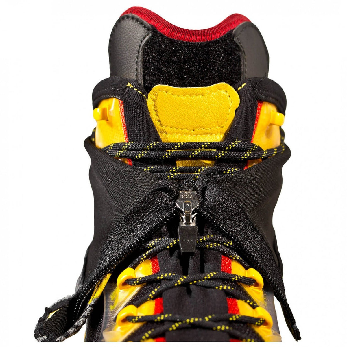 La Sportiva Trango Ice Cube Mountaineering Boot, upper zip and lace design detail