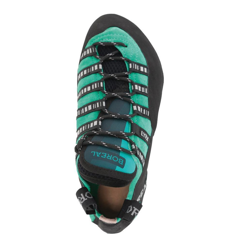 Boreal Lynx Womens climbing shoe, view from above showing lace detail