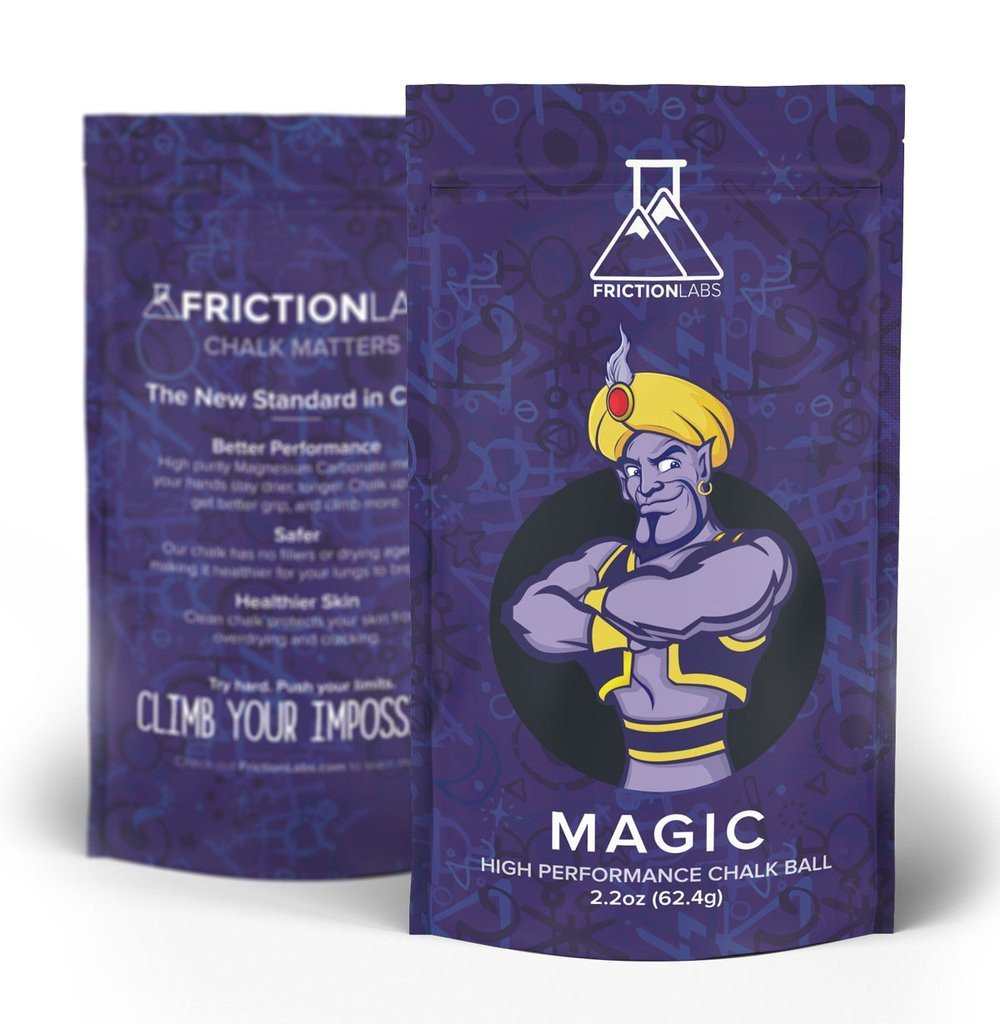 FrictionLabs Magic Chalk Ball, front and reverse of packaging shown side by side