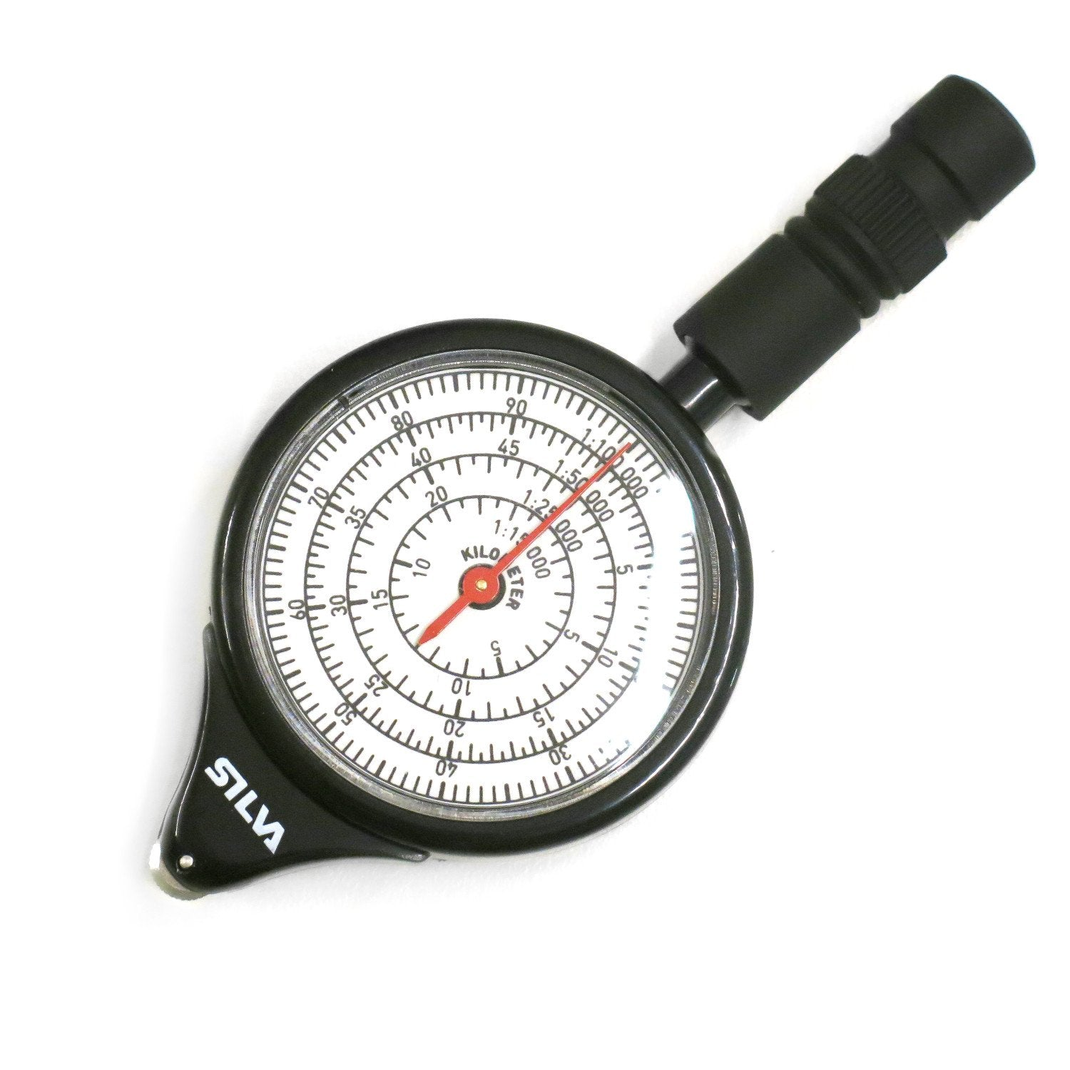 Front of Silva Mechanical Map Measurer showing measurements in black and white with red needle