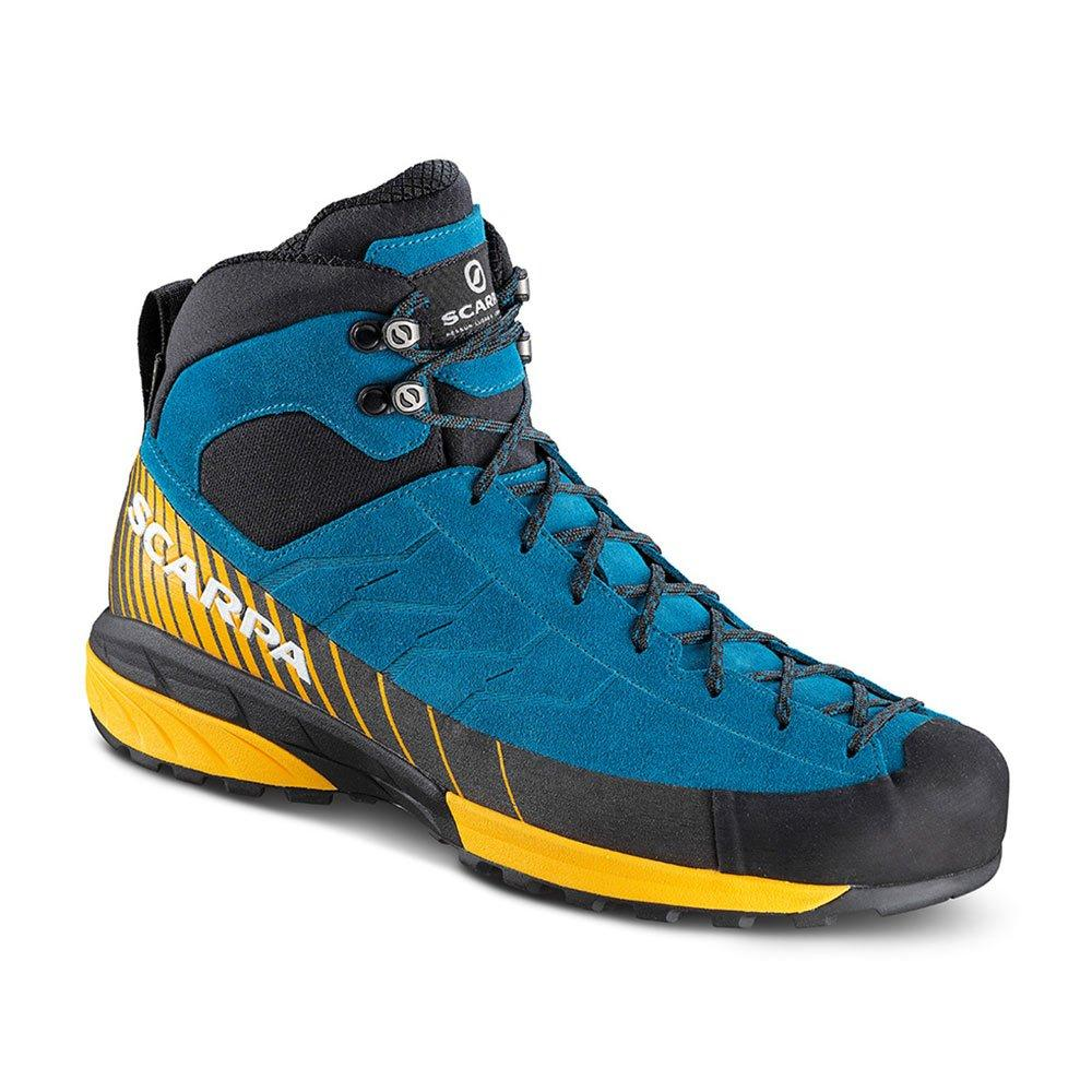 Scarpa Mescalito Mid GTX approach shoe, in blue/yellow and black colours, outer side view