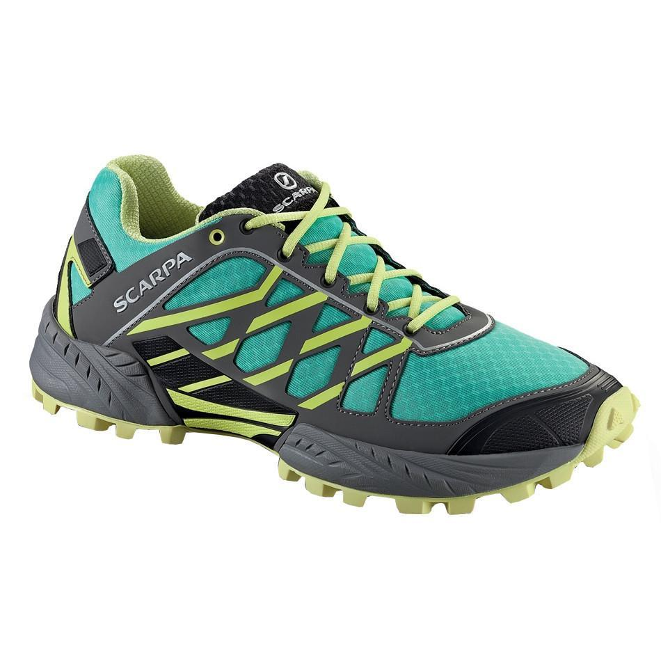 Scarpa Neutron Womens trail running shoe, outer side view in green, grey, yellow and black colours