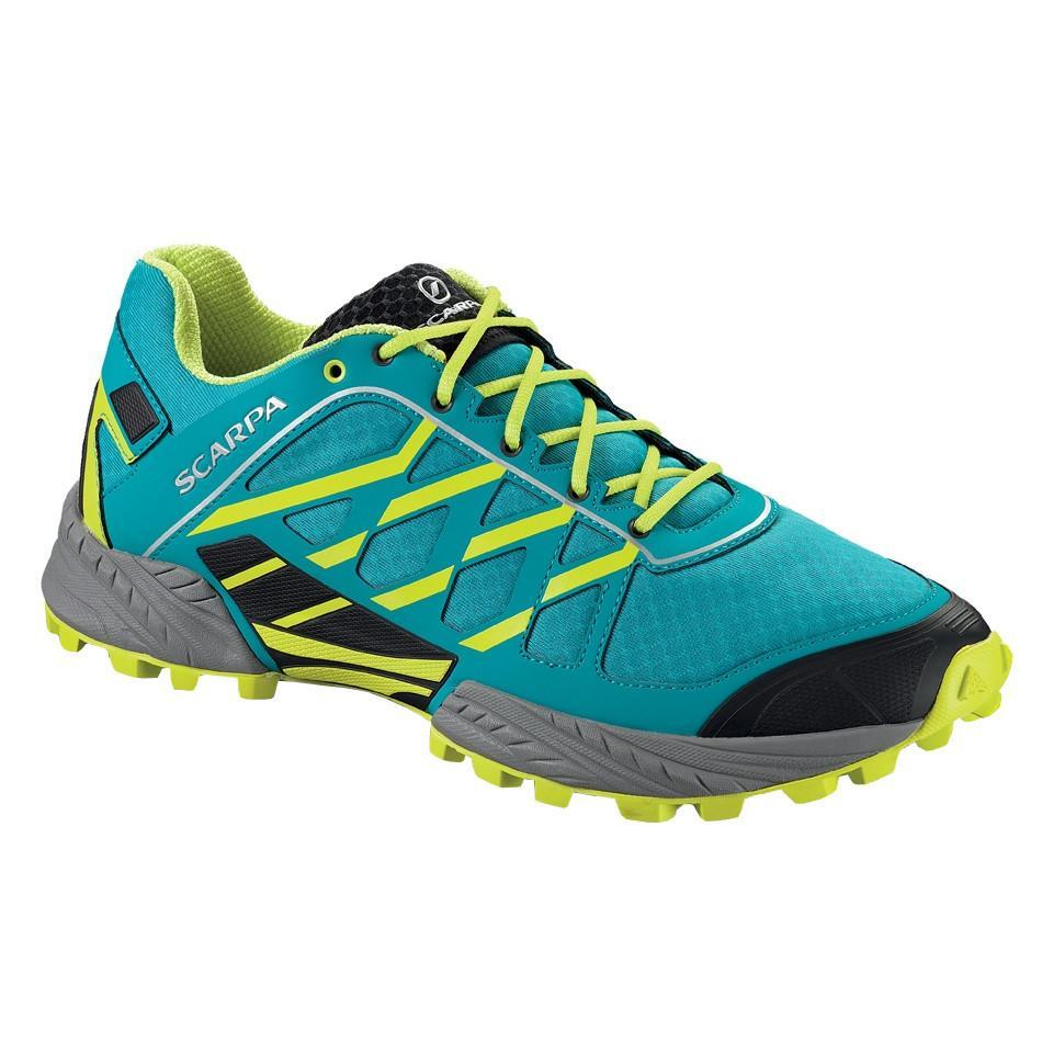 Scarpa Neutron trail running shoe, outer side view in blue, green and black colours