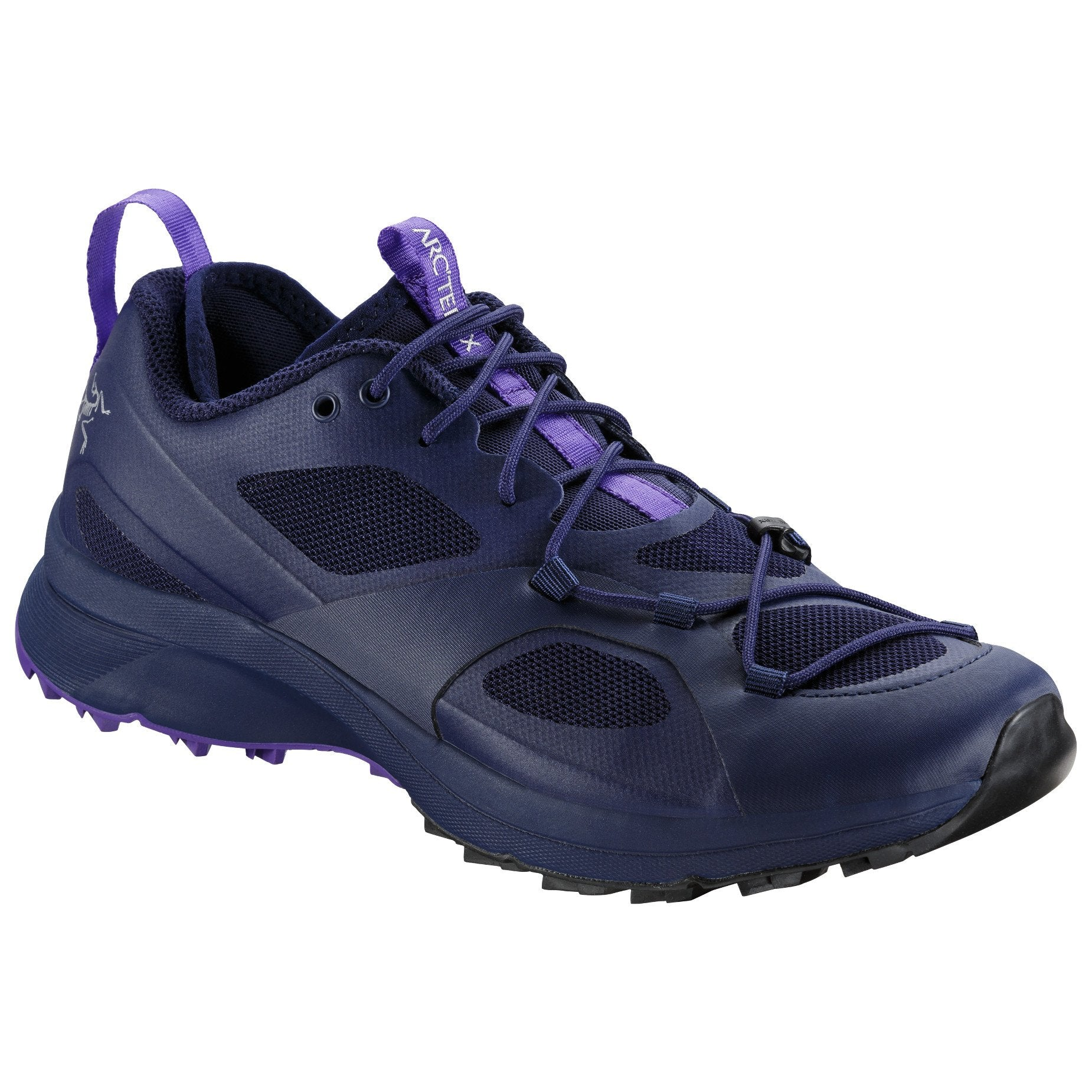 ArcTeryx Norvan VT Womens trail running shoe, in purple/black colours, outer side view