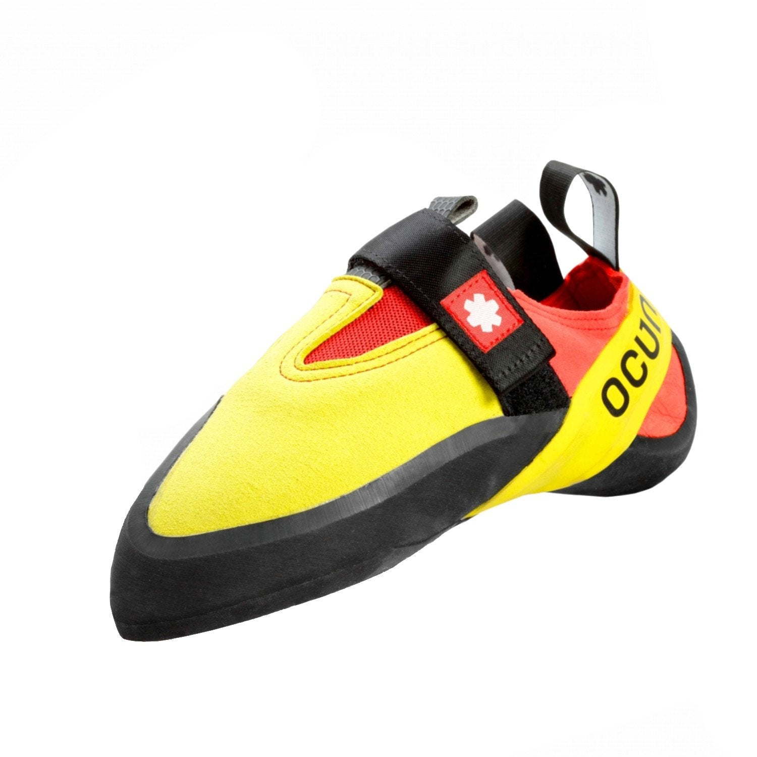 Ocun Rival kids climbing shoe, in black, yellow and orange colours